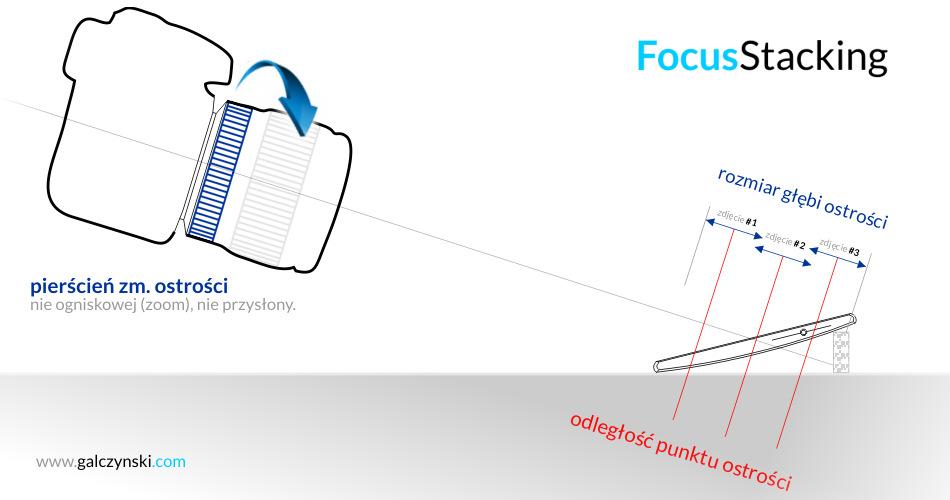 """diagram """"focus stacking"""" - jak rozszerzyć pole głębi ostrości w fotografii makro"""